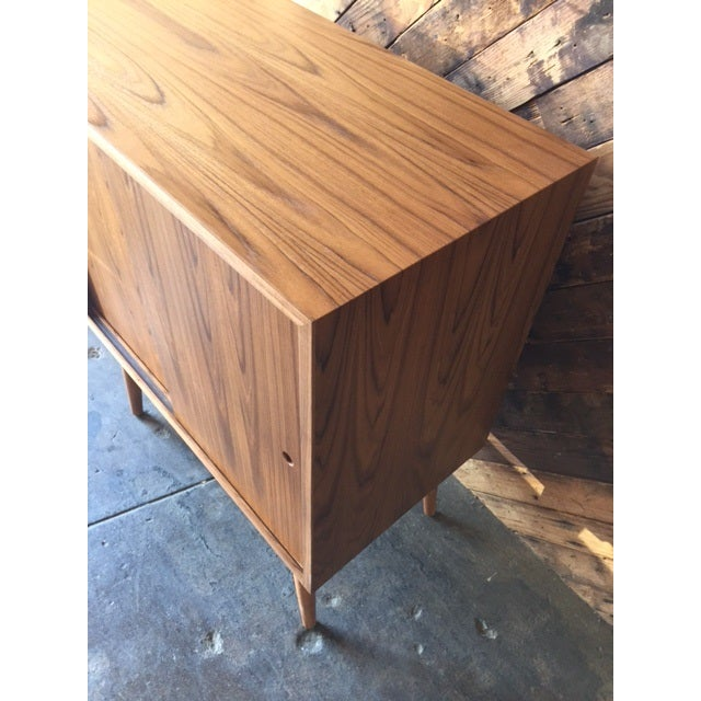 Mid-Century-Style Teak Record Cabinet For Sale - Image 5 of 8