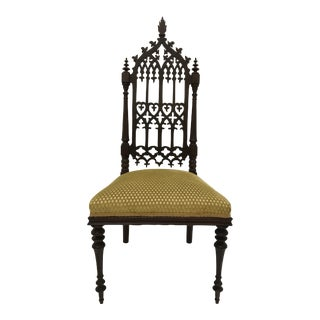 19th Century Victorian Gothic Period Petite Side Chair For Sale
