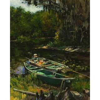 """Blair Oil Painting, """"Twin Lakes Fish Camp, Cross Creek"""", 16 X 20 In. Oil on Canvas For Sale"""