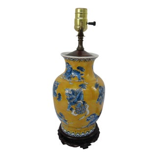 Blue & Yellow Chinoiserie Lamp With Dragons For Sale