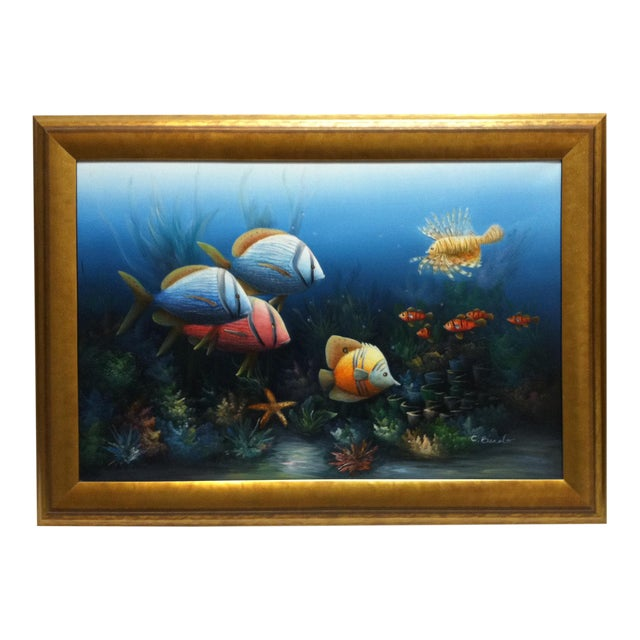 """Late 20th Century C. Benolt """"Tropical Fish"""" Framed Original Painting For Sale"""