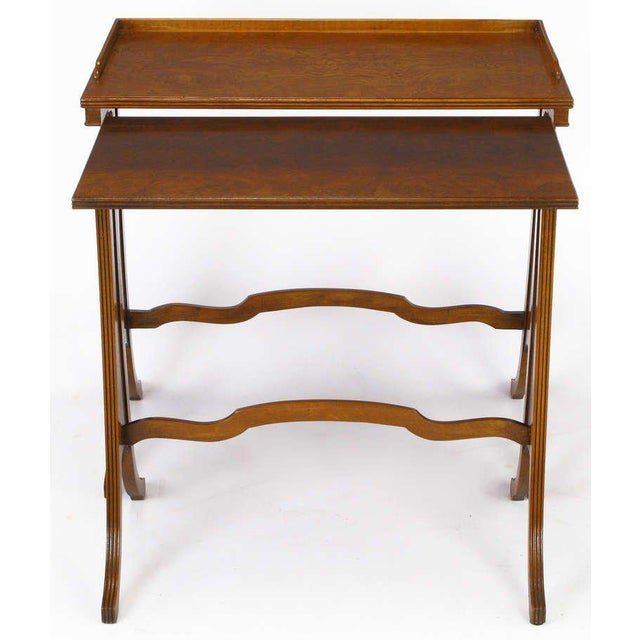 Baker Art Nouveau Style Burled Walnut Nesting Tables For Sale - Image 9 of 10