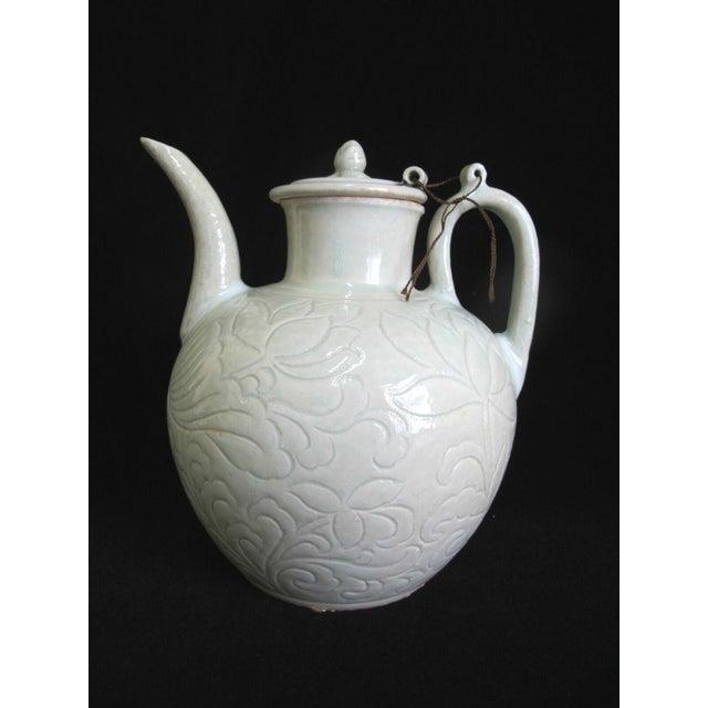 Celadon Chinese Celadon Green Glaze Pottery Wine Jug Pot W/Lotus Leaf Floral Design For Sale - Image 8 of 8
