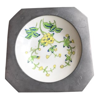 Japanese Porcelain Ware With Pewter Surround For Sale