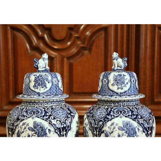 Figurative Mid-20th Century Dutch Blue and White Royal Maastricht Delft Ginger Jars-a Pair For Sale - Image 3 of 9