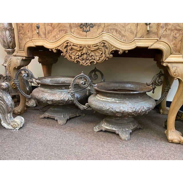 French 19th Century French Cast Iron Urns - a Pair For Sale - Image 3 of 4