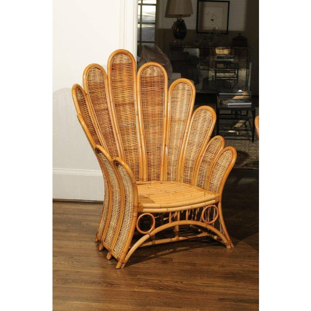 Majestic Restored Pair of Vintage Rattan and Wicker Palm Frond Club Chairs For Sale - Image 4 of 13