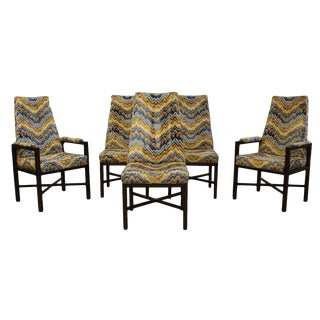 Mid Century Modern Jack Lenor Larsen Fabric Dunbar Dining Chairs- Set of 5 For Sale