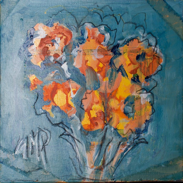 "Abstract Abstract Oil Painting on Canvas, ""Orange Flowers"" by Suzanne McCullough Plowden For Sale - Image 3 of 5"