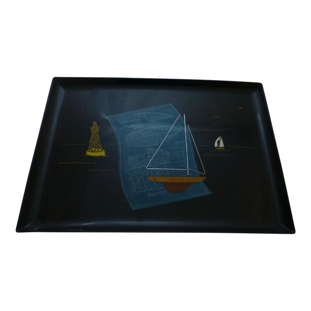 Mid-Century Couroc Sailboat Serving Tray - Image 1 of 10
