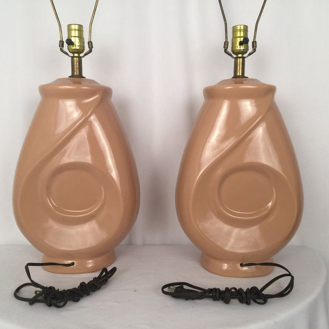 1960s Mid-Century Peach Lamps - A Pair - Image 5 of 7