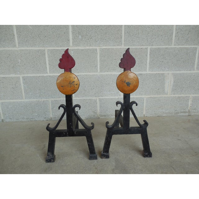 Vintage Hand Forged Mid Century Style Andirons - Pair - Image 2 of 7
