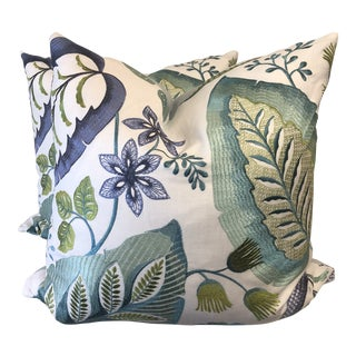 "Custom Embroidered Floral and Leaf 22"" Pillows-A Pair For Sale"
