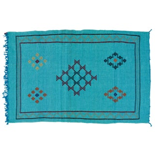 Blue Moroccan Cactus Silk - 4'9'' X 3' For Sale