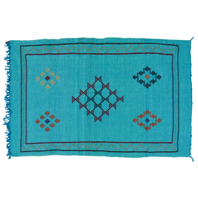 Moroccan Silk Rug- 4'9'' X 3' For Sale