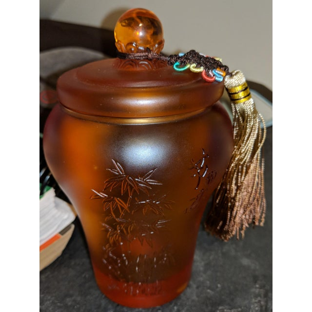 Chinese Pate-De-Verreibet Amber Crystal Liuli Glass Tea Caddy For Sale - Image 9 of 9