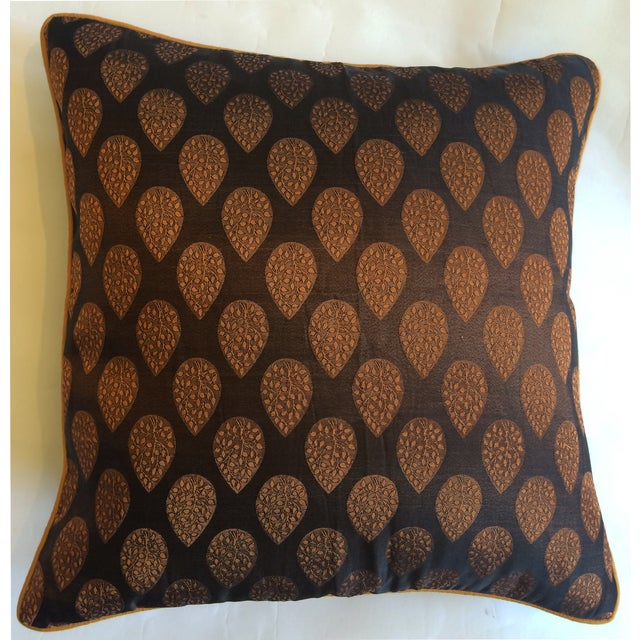 Brown & Gold Brocade Pillow Cover - Image 2 of 4