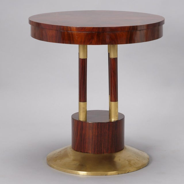 Early 20th Century Round Jugendstil Rosewood and Brass Pedestal Table For Sale - Image 5 of 7