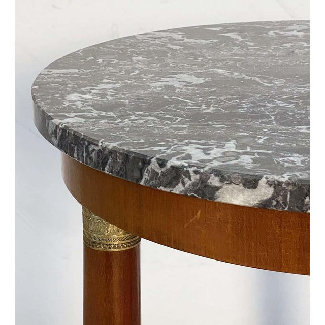 Metal French Marble-Top Table or Guéridon in the Empire Style For Sale - Image 7 of 13