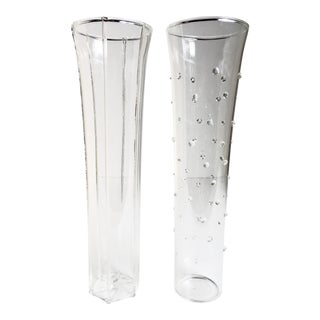 Handblown Contemporary Glass Champagne Flutes - a Pair For Sale