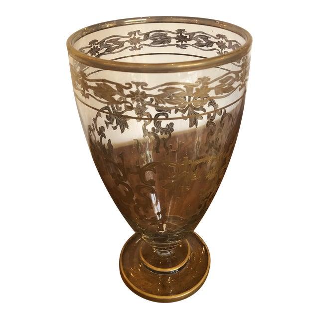 Vintage Gold Leaf Decorated Glass Vase For Sale