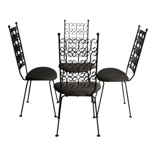 Arthur Umanoff Grenada Collection Wrought Iron Dining Chairs - A Set of 4, USA For Sale