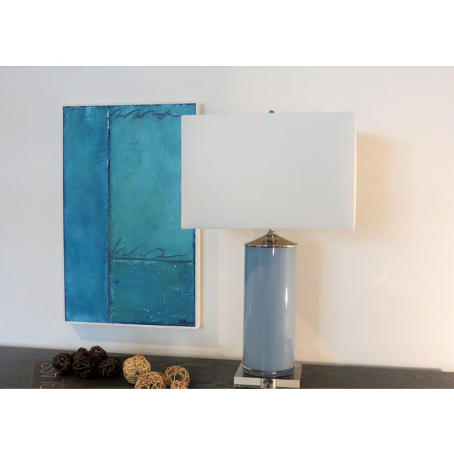 A gorgeous modern abstract oil, plaster, pastel on solid wood panel, framed in a soft light ivory solid wood frame....