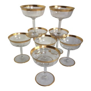Tiffin Gold Rim Crystal Champagne Coupes - Set of 8