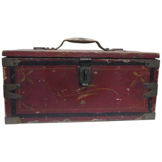 Primitive Hand-Painted Wooden Tool Box For Sale