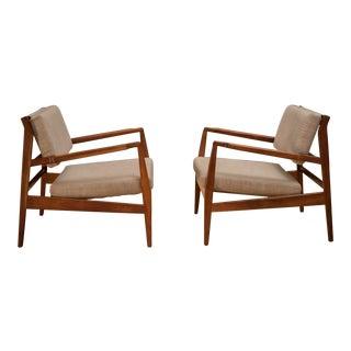 Vintage Jens Risom Walnut Lounge Chairs - a Pair