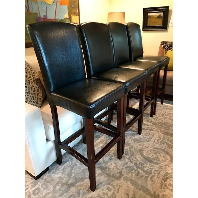 Top-Grain Leather Bar Stools, Classic and Clean-Lined - Set of 4 - Image 3 of 11