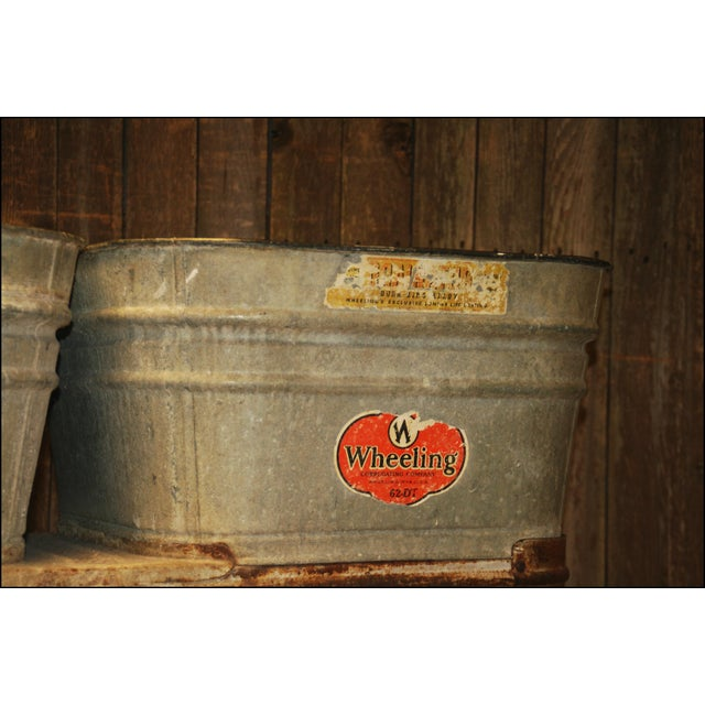 Vintage Wheeling Galvanized Double Wash Tub Stand For Sale - Image 5 of 11
