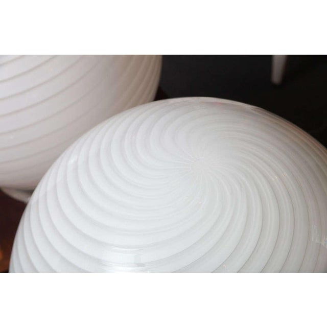 Vetreria Fratelli Toso Extra Large Vetri Murano Glass & Lucite Globe Table Lamps - a Pair For Sale - Image 4 of 9