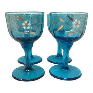1900s Boho Chic Turquoise, Hand Painted, Paneled Bohemian Liqueur Glasses - Set of 4 For Sale