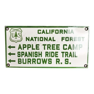 Vintage Enamel California Forest Service Sign For Sale