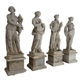 Les Quatre Saisons, the Four Seasons, Cast Stone Garden Statues on Pedestals - Set of 4 For Sale