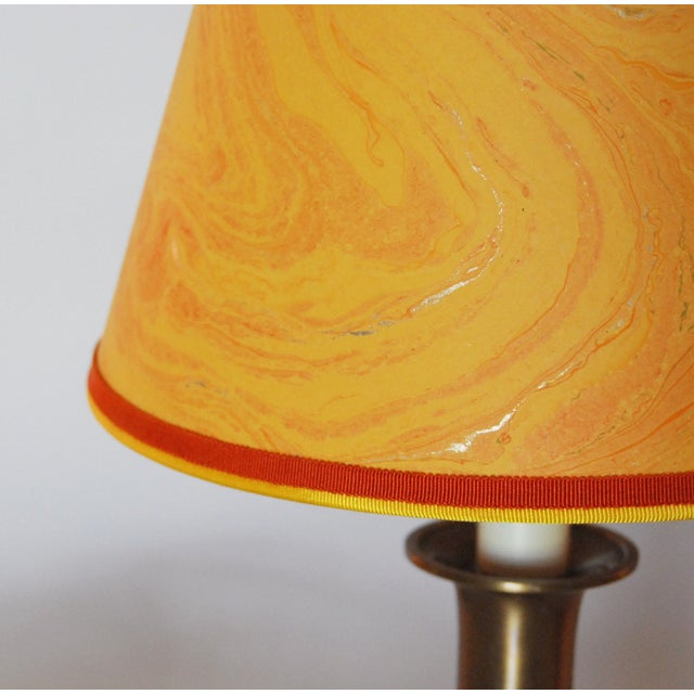 Vintage Brass Desk Lamps & Marble Shades - Pair - Image 3 of 6