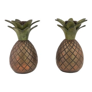 Pineapple Candle Stick Holder - a Pair For Sale