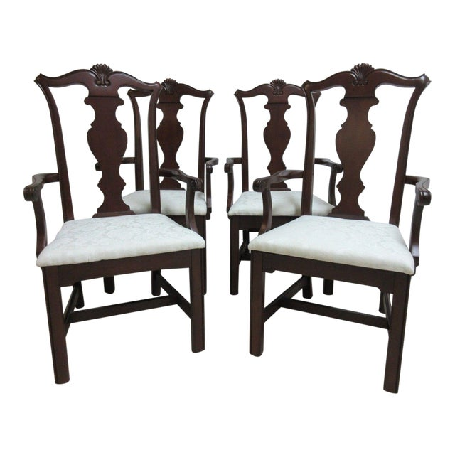 Pennsylvania House Cherry Shell Carved Dining Room Arm Chairs