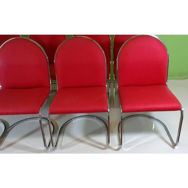Chrome Red Upholstered Dining Chairs - Set of 8 - Image 8 of 11