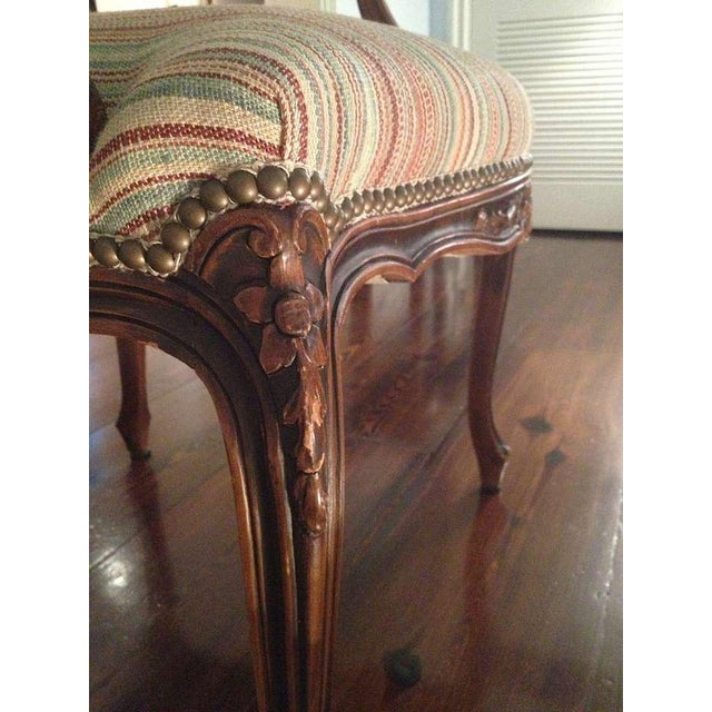 French Pair of French Walnut Upholstered Armchairs For Sale - Image 3 of 11