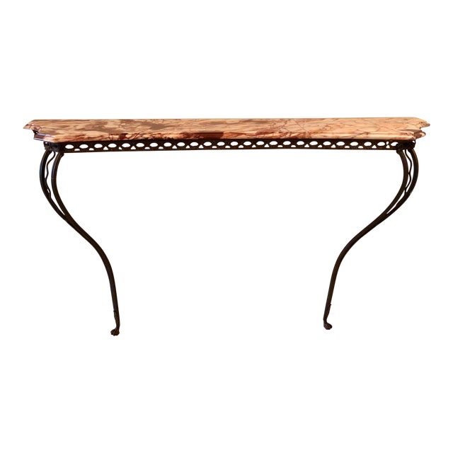 French Wrought Iron Art Deco Marble Top Console For Sale