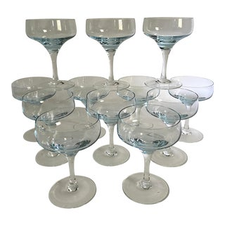 Mid-Century Baby Blue Champagne Coupes - Set of 12 For Sale
