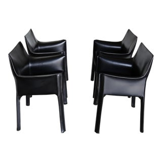 Late 20th Century Vintage Mario Bellini for Cassina Black Leather Cab Armchairs- Set of 4 For Sale