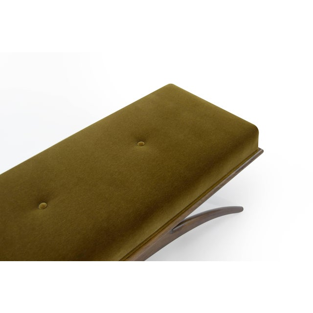Convex Bench in Olive Mohair For Sale - Image 9 of 10
