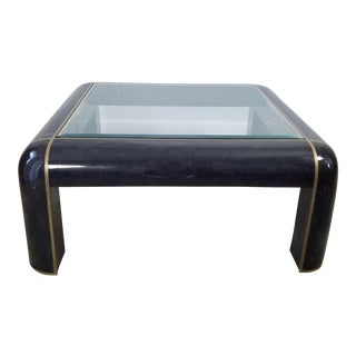 Karl Springer Style Tessellated Horn and Brass Coffee Table For Sale
