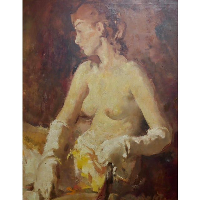 William Frederick Foster -Seated Nude Woman W/White Gloves- Oil Painting- C1930s For Sale - Image 4 of 9