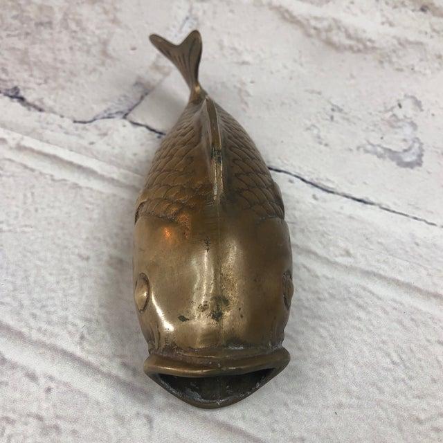 Mid-Century Modern Mid Century Brass Koi Fish Wall Hanger For Sale - Image 3 of 7