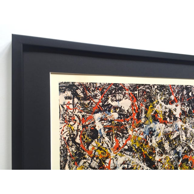 """1960s Jackson Pollock Rare Vintage 1964 Mid Century Modern Framed Abstract Expressionist Lithograph Print """" Convergence """" 1952 For Sale - Image 5 of 13"""