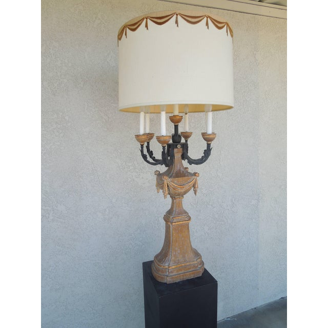 Textile 1950s Marbro Regency Candelabra Lamp For Sale - Image 7 of 8